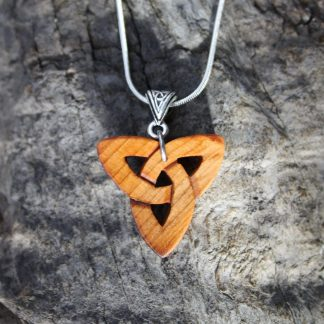 Yew wood trinity necklace