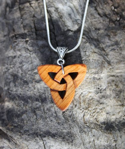 Yew wood trinity necklace