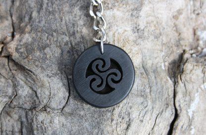 Ebony Celtic wooden triskele keyring