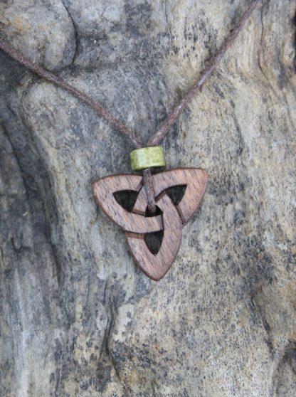 walnut triquetra necklace