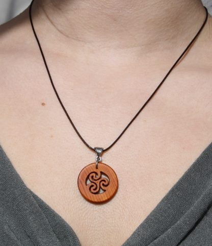 Yew wood Triskele necklace