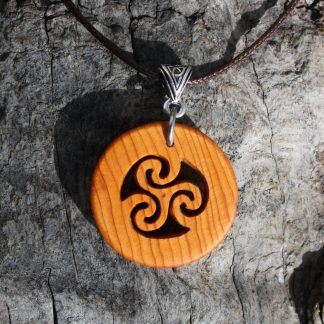 Irish yew wood triskele necklace