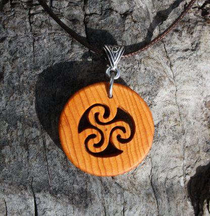 Irish yew wood triskele necklace