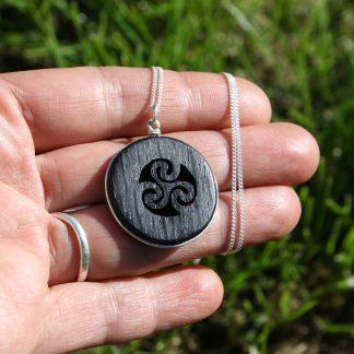bog oak triskelion necklace