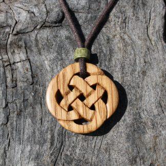 Irish oak Celtic knot necklace