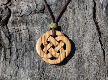 Irish oak Celtic knot necklace
