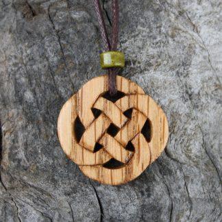 Handcarved Irish oak Celtic knot necklace