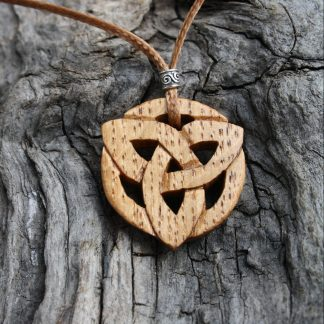 Irish oak trinity knot Celtic pendant