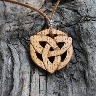Irish oak trinity knot Celtic pendant