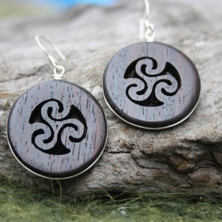 Rosewood Triple spiral earrings