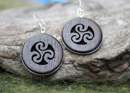 Rosewood Triple spiral earrings