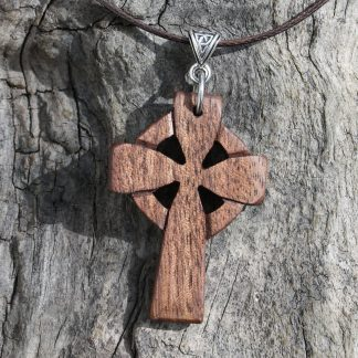 Walnut Celtic cross pendant