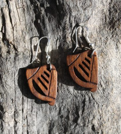 Walnut Irish harp earrings