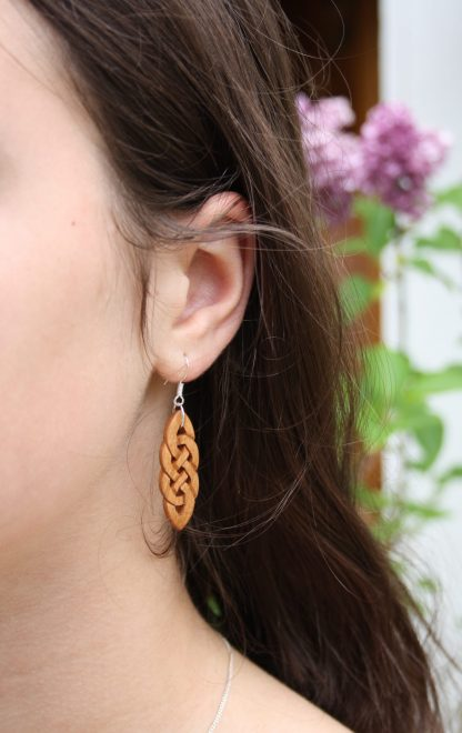 celtic knot wood earrings