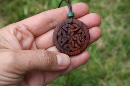 Rosewood Celtic eternity knot necklace