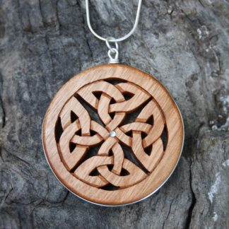 Irish Cherry wood & silver Celtic eternity necklace