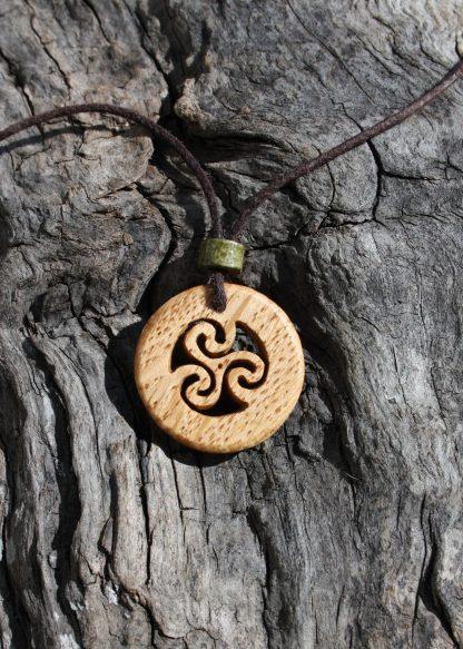 Irish oak triskele necklace