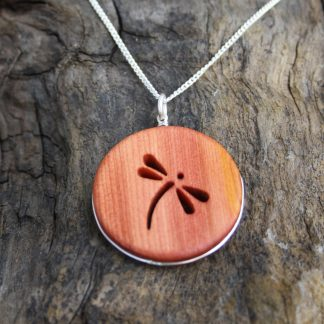 Irish yew wood dragonfly necklace