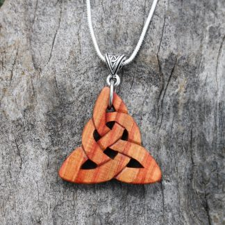 Rosewood Triquetra knot necklace
