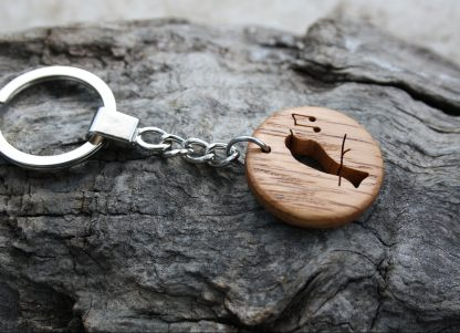 Irish oak songbird key-ring