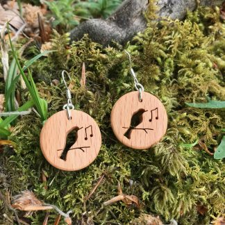 Irish beech wood songbird earrings