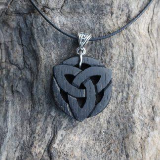 Irish bog oak triquetra necklace