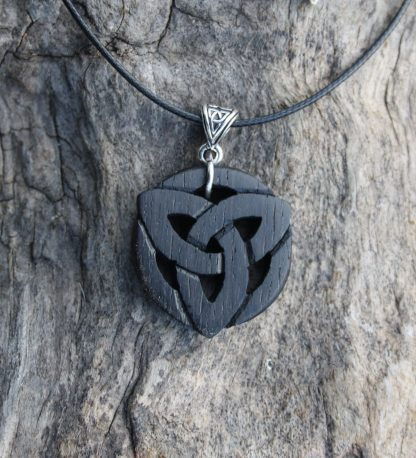 Irish bog oak triquetra necklace