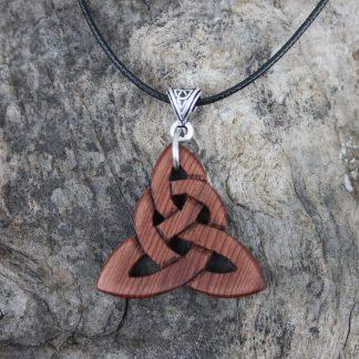 handcarved Irish bog yew triquetra pendant