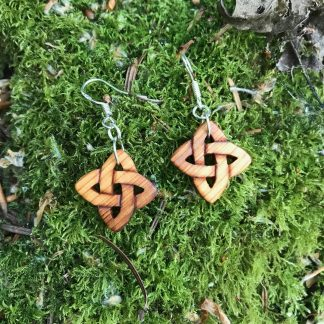 Irish yew wood Celtic love knot earrings