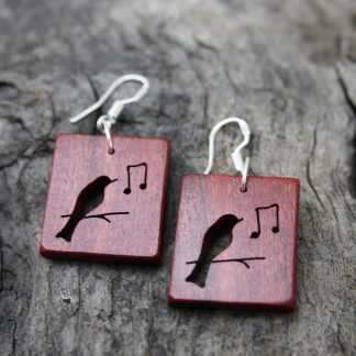 Pink ivory wood Songbird earrings