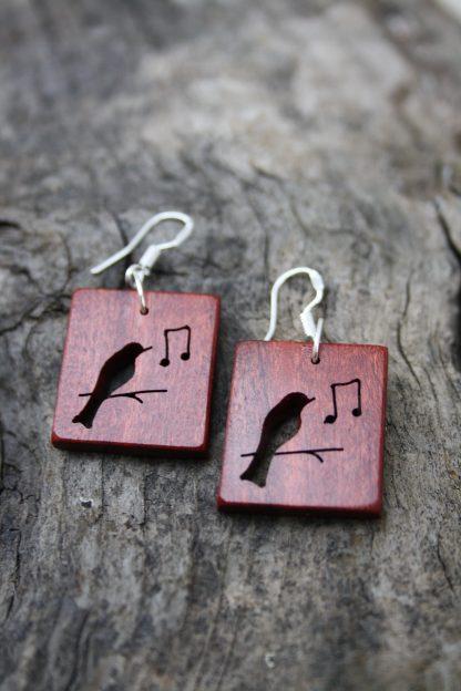 Pink ivory wood Songbird earrings