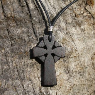 Rosewood Celtic cross necklace