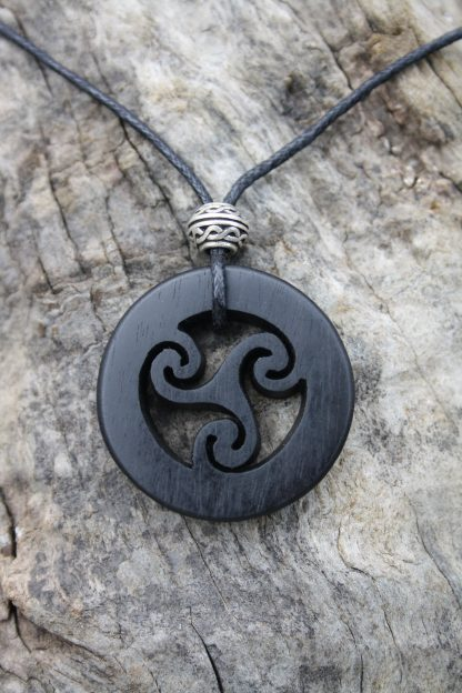 Ebony Celtic Triskele necklace