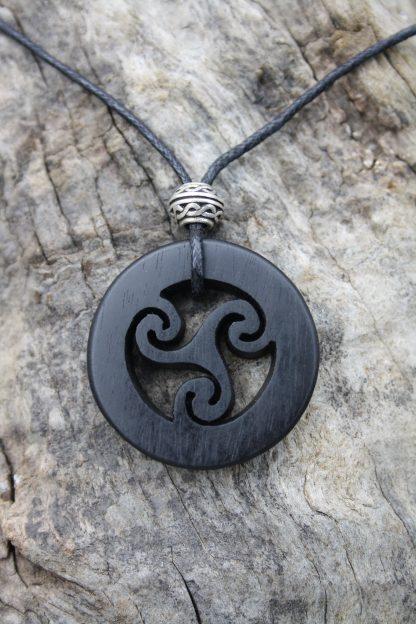 Ebony Celtic Triskele necklace