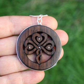 Hand-carved Rosewood Irish Shamrock Necklace