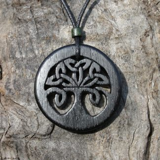 5000 year old Irish bog oak Celtic tree of life necklace