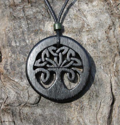 5000 year old Irish bog oak Celtic tree of life necklace