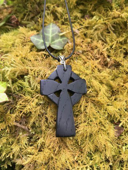 Irish bog oak Celtic cross pendant