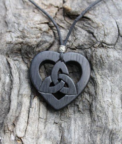 Irish bog oak Celtic heart Trinity pendant