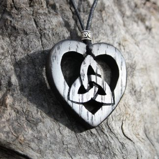 I Handcarved Irish bog oak Celtic heart Trinity pendant