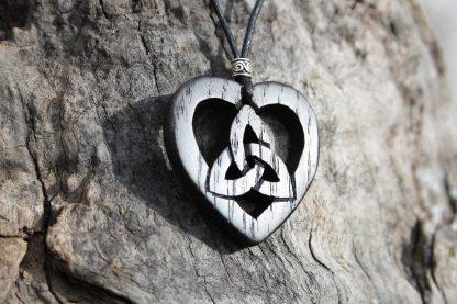 I Handcarved Irish bog oak Celtic heart Trinity pendant