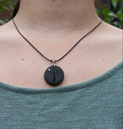 5000 year old Irish bog oak Tree-lady necklace