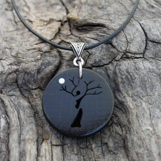 5000 year old Irish bog oak Tree-lady necklace