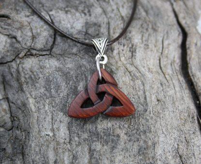 Irish bog yew Celtic trinity pendant