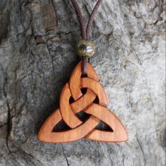 Triquetra Carved on Irish Cherrywood