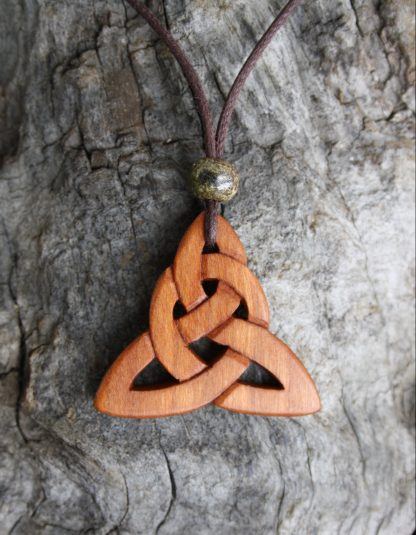 Triquetra Carved on Irish Cherrywood