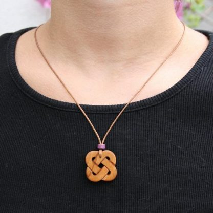 rish Cherry Wood Love knot Necklace